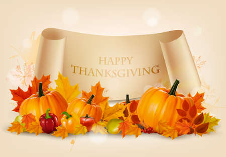 Happy Thanksgiving background with autumn vegetables and colorful leaves. Vector. Illustration