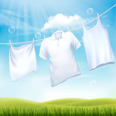 Washing white clothes hanging on the rope. Design template. Vector Vettoriali