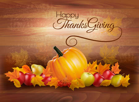 Happy Thanksgiving card with autumn vegetables and fruit on wooden background. Vector.