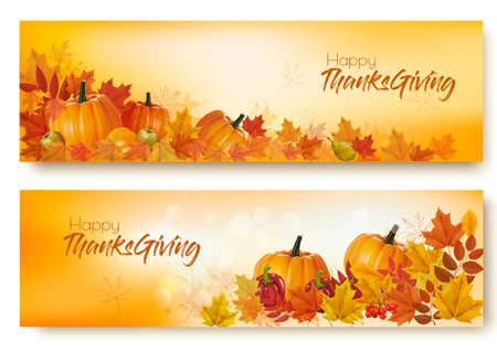 Set of Happy Thanksgiving banners with autumn vegetables and colorful leaves. Vector.