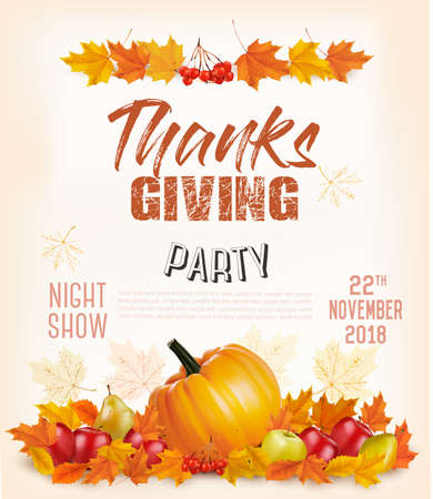 Happy Thanksgiving Flyer with colorful leaves and autumn vegetables Vector.