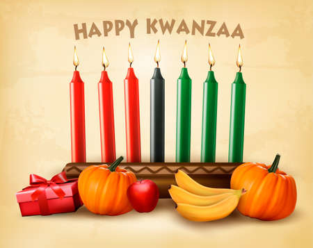 Happy Holiday Kwanzaa background with seven candles, gift box, pumpkins and fruit.