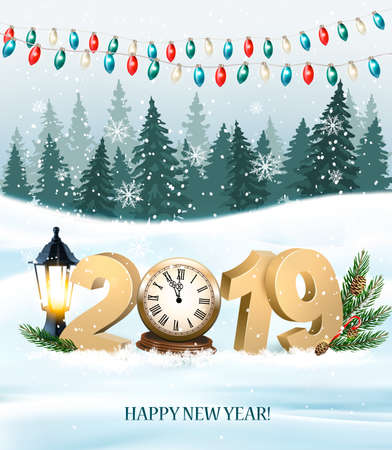 Merry Christmas Background with 2019 and clock and colorful garland. Vector Illustration