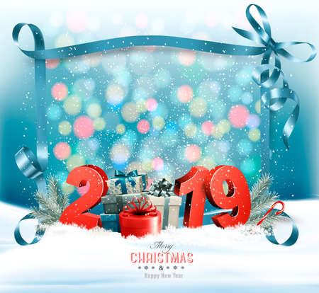 Holiday Christmas background with 2019 and a gift boxes and a blue ribbon. Vector Illustration