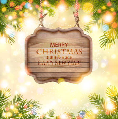 Holiday Background with christmas branches of tree and wooden board. Vector Illustration