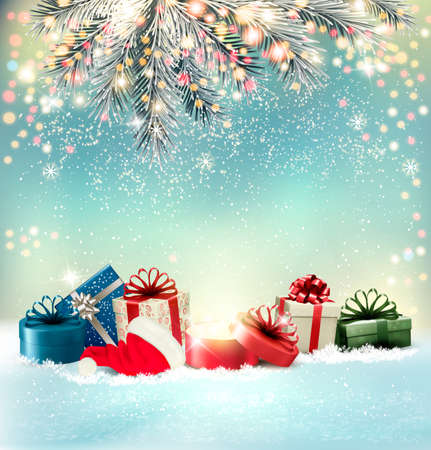 Christmas holiday background with colorful presents and magic box. Vector.