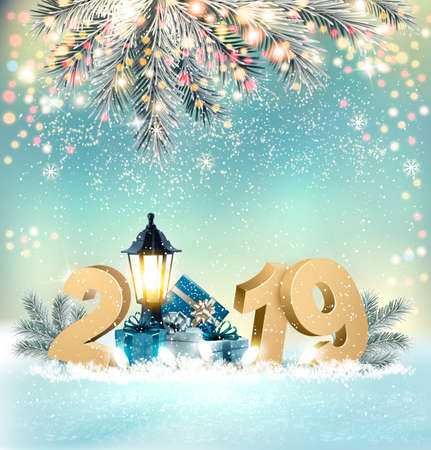 Merry Christmas Background with 2019 and gift boxes and blue ribbon. Vector
