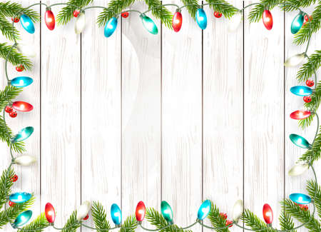 Christmas holiday decoration with branches of tree and garland on wooden background. Vector. Illustration