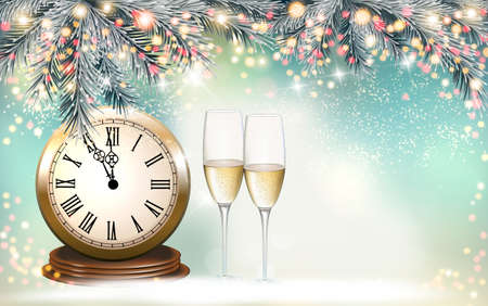 New Year Holiday background with a gift boxes and two glasses of champange. Vector. Illustration
