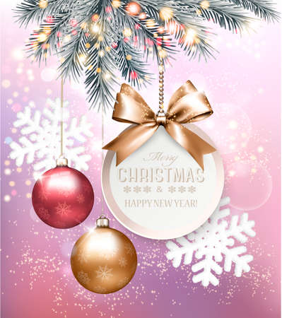 Holiday Christmas background with snowflakes and a colorful balls. Vector