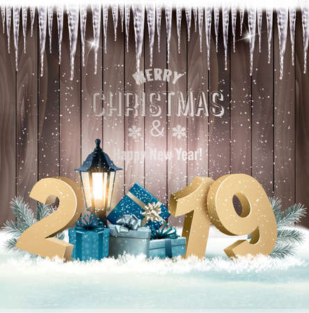 Holiday christmas background with 2019 and gift boxes and landscape. Vector