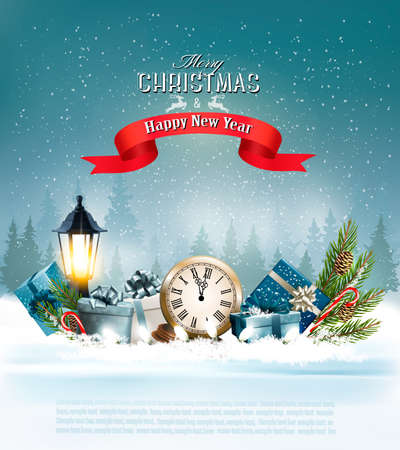 Christmas background with a lantern and a colorful gift boxes. Vector Illustration