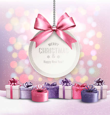 Holiday Christmas background with getting card and a colorful presents. Vector. Illustration
