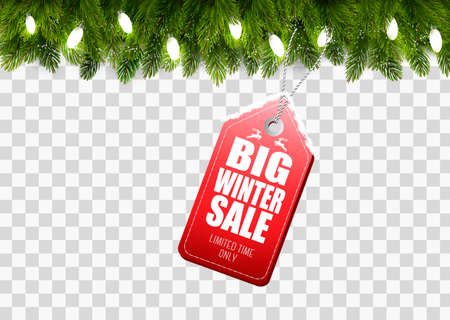 Winter Sale Tag with Christmas branches of tree on transparent background. Vector