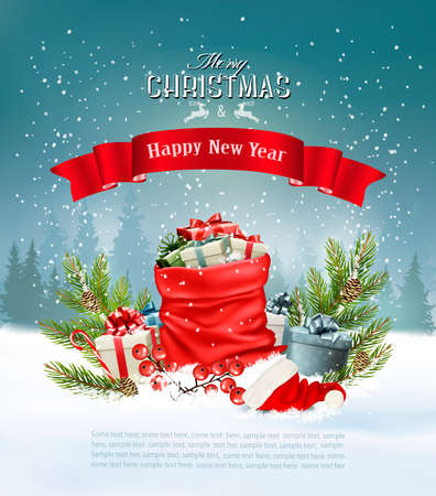 Christmas holiday background with a red sack full presents. Vector.