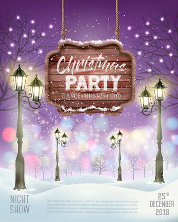 Christmas Holiday Party Flyer background with evening winter landscape. Vector