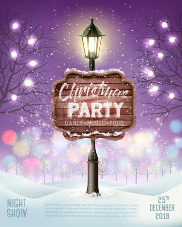 Merry Christmas Party Flyer background with evening winter landscape and lamppost. Vector Illustration