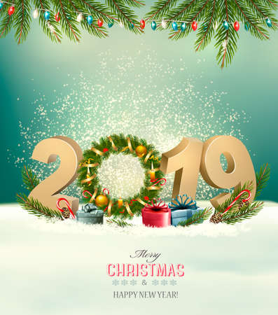 Holiday background with a 2019 and christmas wreath. Vector