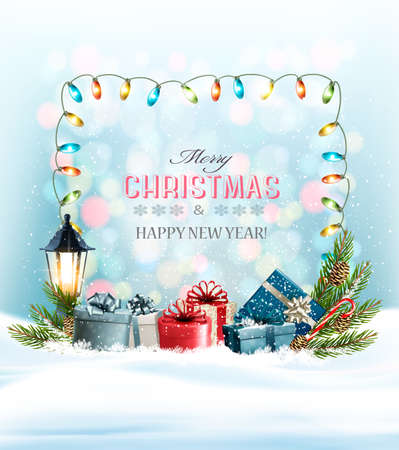 Holiday Christmas background with a colorful presents and garland. Vector. Illustration