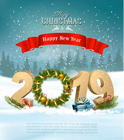 Happy New Year 2019 background with presents and wreath. Vector.