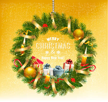 Colorful gift boxes and christmas wreath. Vector Illustration