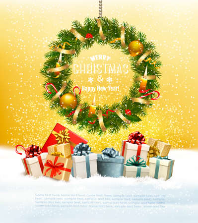 Holiday background with a colorful gift boxes and christmas wreath. Vector Illustration