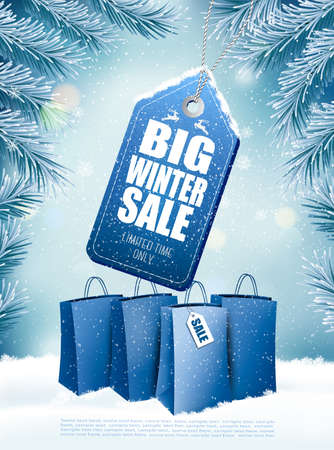 Big Christmas sale on winter background with branches of tree and shopping bags. Vector