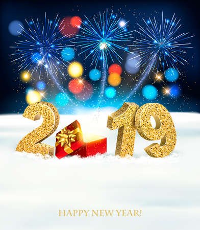 Holiday New Year background with a firework and  2019.