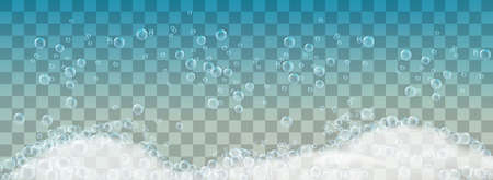 Soap foam and bubbles on transparent background.
