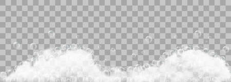 Espuma de jabón y burbujas sobre fondo transparente. Ilustración vectorial