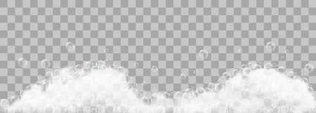Schiuma di sapone e bolle su sfondo trasparente. Illustrazione vettoriale