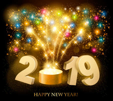 Happy New Year background with 2019 and fireworks. Vector