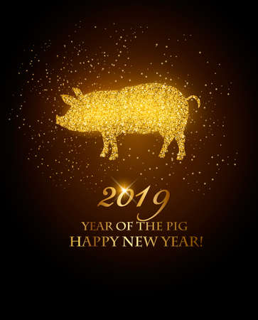 Happy New Year 2019 background. Year of the Pig concept.