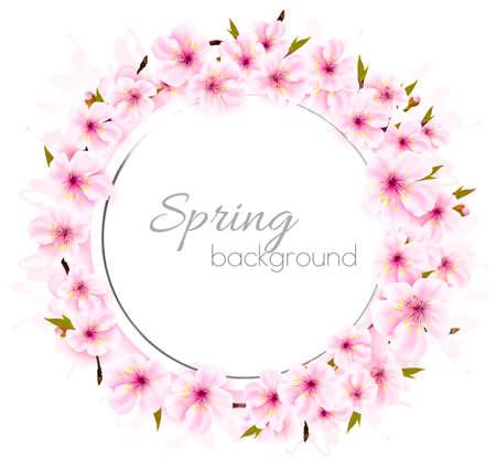 Spring background with pink blooming sakura. Illustration