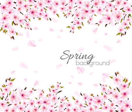 Spring nature background with Sakura cherry branch. Illustration