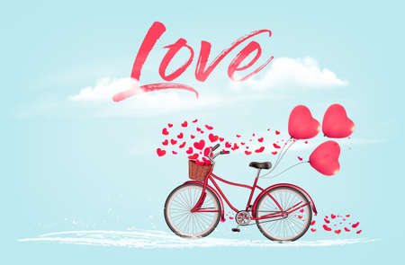 Valentine's Day background with a heart shaped ballons and a bicycle. Vector.