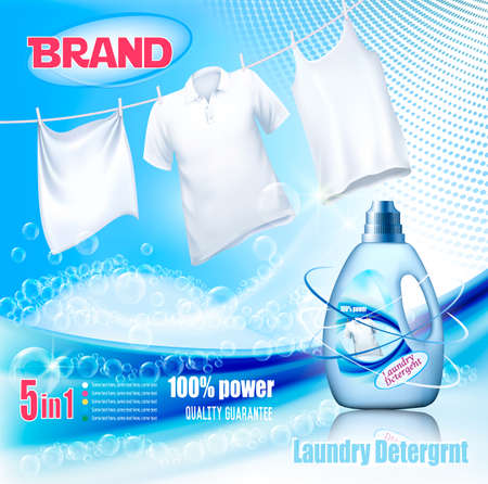 Laundry detergent ad. Washing White clothes hanging on rope and plastic bottle. Design template. Vector Banque d'images - 121746160