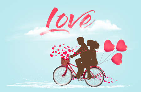 Valentines Day background with a heart shaped ballons and a bicycle with silhouelle. Vector.