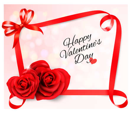 Valentines background with two red heart shaped  roses and ribbons. Vector illustration.