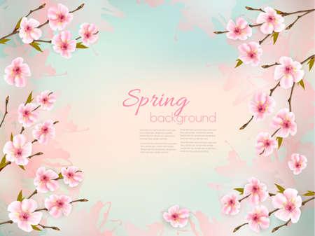 Spring nature background with a pink sakura blossom. Illustration