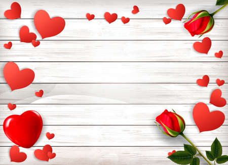 Red roses and paper hearts on a wooden sign. Valentines Day background.