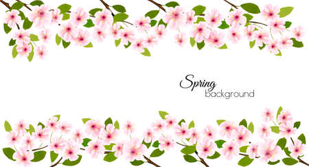 Spring nature frame with a pink blooming cherry. Illustration