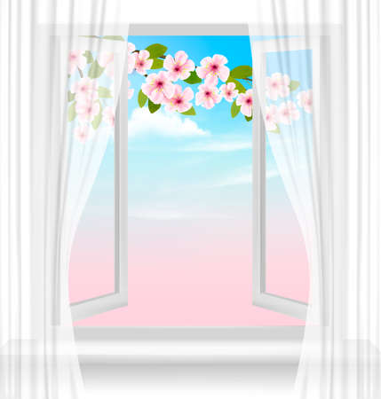 Nature spring background with open window and blossom of cherry.