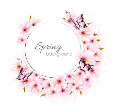Spring nature background with cherry branch and butterflies.