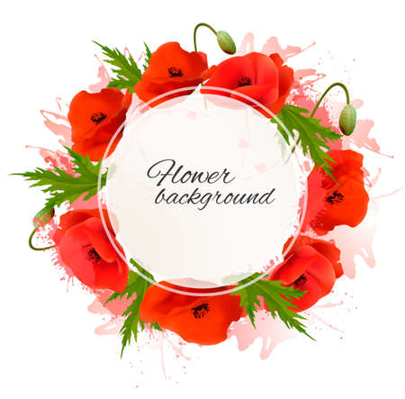 Flower nature background with red poppies.