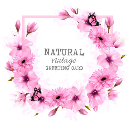 Natural vintage greeting card with pink flowers and butterfly. Illustration