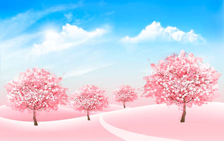 Fond de nature printanière avec des arbres de sakura en fleurs et un ciel bleu avec des nuages. Vecteur. Vecteurs