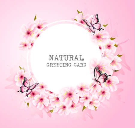 Spring nature background with pink flowers and butterflies.