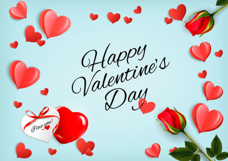 Valentines Day holiday getting card with red roses and paper hearts. Illustration