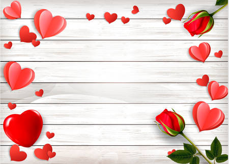 Valentines Day holiday background with red roses and paper hearts on a wooden sign. Illustration